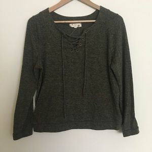 Olive front tie sweater